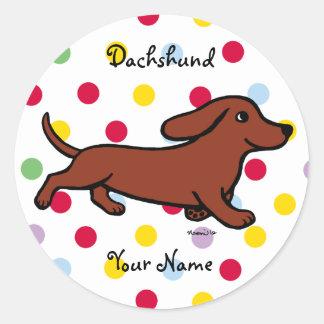 Personalized Dachshund Running Cartoon Classic Round Sticker