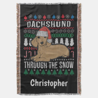 Personalized Dachshund Through The Snow Holiday Throw Blanket
