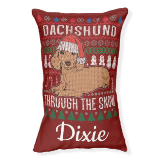 Personalized Dachshund Through The Snow Pet Bed