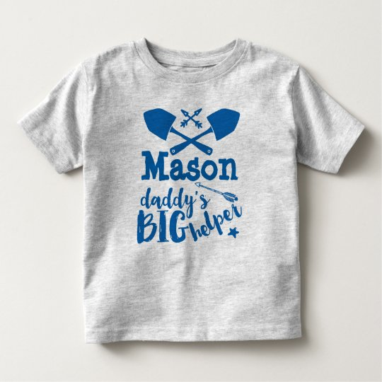 Personalized Daddy's Big Helper Blue and Grey Toddler T-shirt