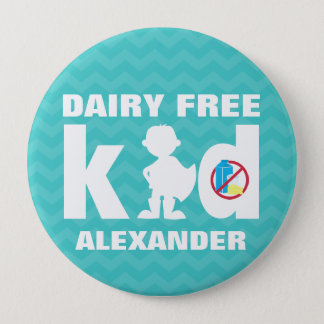 Personalized Dairy Free Super Boy Teal Chevron Pin