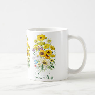 Personalized Daisies Coffee Mug