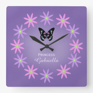 Personalized Daisy And Butterfly Wall Clock