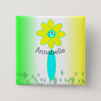 Personalized Daisy Flower 2 Inch Square Button