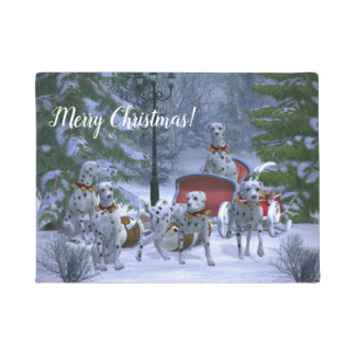 Personalized Dalmatians, Sleigh & Snow Christmas Doormat