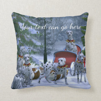 Personalized Dalmatians, Sleigh & Snow Christmas Throw Pillow