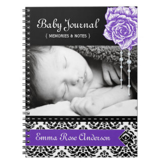 Personalized Damask Baby Journal Spiral Notebooks