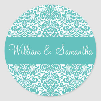 Personalized Damask Envelope Sticker Seal