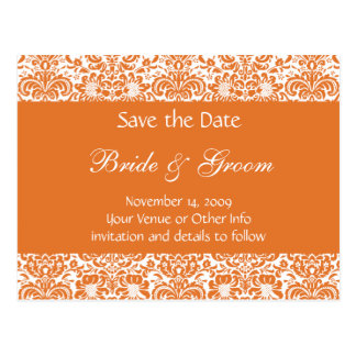Personalized Damask Save the Date Postcard