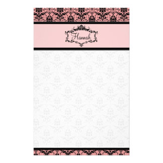 Personalized Damask Stationery - Pink and Black