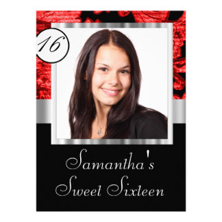 Personalized damask sweet sixteen announcements