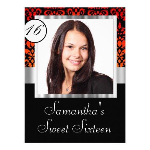 Personalized damask sweet sixteen custom invitations