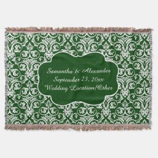 Personalized Damask Wedding/Keepsake Custom Green Throw Blanket