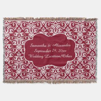 Personalized Damask Wedding/Keepsake Custom Maroon Throw Blanket