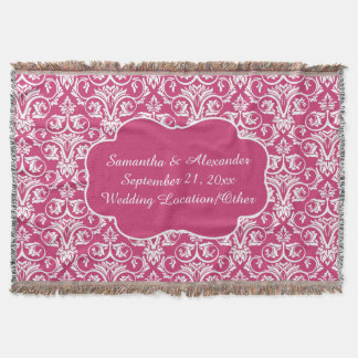 Personalized Damask Wedding/Keepsake Custom Pink Throw
