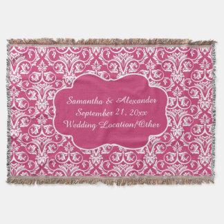 Personalized Damask Wedding/Keepsake Custom Pink Throw Blanket