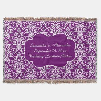 Personalized Damask Wedding/Keepsake Purple Throw