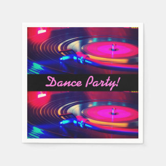 Personalized Dance Party Retro Turn Table Napkins Paper Napkins