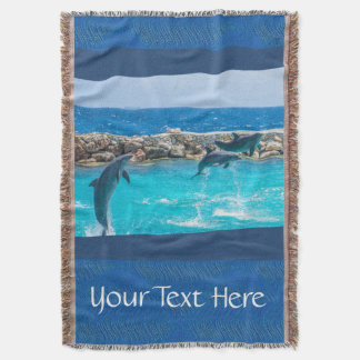 Personalized Dancing Blue Dolphins Photography Throw Blanket