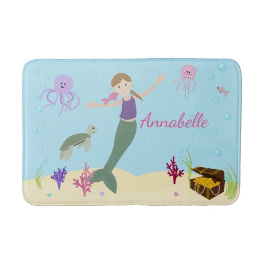 Personalized Dark Blonde Mermaid and Ocean Friends Bath Mat