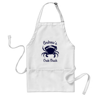 Personalized Dark Blue Crab Silhouette Standard Apron