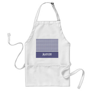 Personalized Dark Blue-Gray Houndstooth Adult Apron