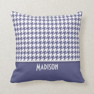 Personalized Dark Blue-Gray Houndstooth Throw Pillow