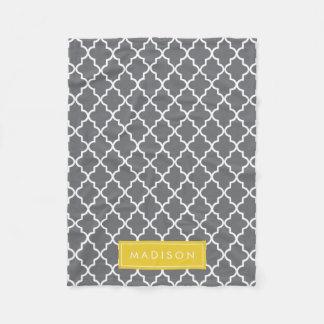 Personalized Dark Gray and Yellow Quatrefoil Fleece Blanket