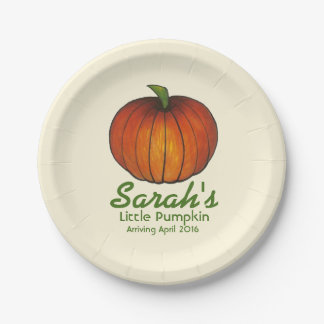 Personalized Date Little Pumpkin Baby Shower Plate 7 Inch Paper Plate