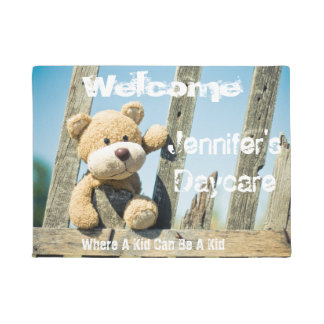 Personalized Daycare Rustic Bear Welcome Mat