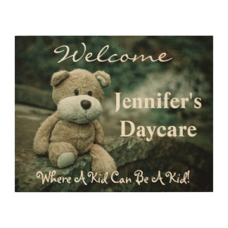 Personalized Daycare Welcome Sign w/Teddy Bear Wood Canvases