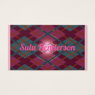 Personalized deep crimson embossed plaid business card