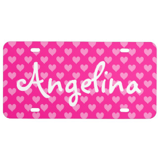 Personalized Deep Pink Cute Heart Pattern License Plate