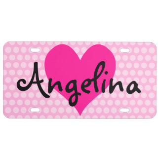 Personalized Deep Pink Heart with Polka Dots License Plate