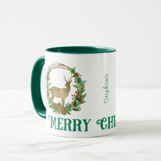 Personalized Deer and Pine Bough Christmas Wreath Mug