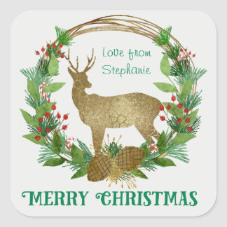 Personalized Deer and Pine Bough Christmas Wreath Square Sticker