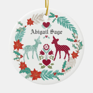Personalized Deer and Wreath Baby's 1st Christmas Round Ceramic Ornament