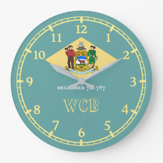 Personalized Delaware State Flag Design on Large Clock