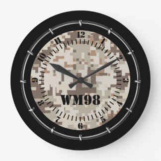 Personalized Desert Beige Camouflage on a Large Clock