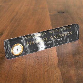Personalized Desk NAME Plate Black White MARBLE