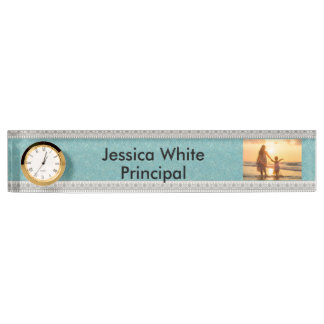 Personalized Desk Nameplate with Clock