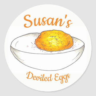 Personalized Deviled Eggs Made By Kitchen Cooking Classic Round Sticker
