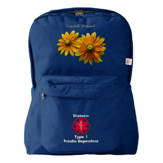Personalized Diabetes Floral Medical Alert Backpack