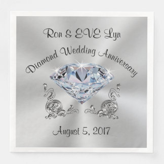 Personalized Diamond 60th Anniversary Napkins