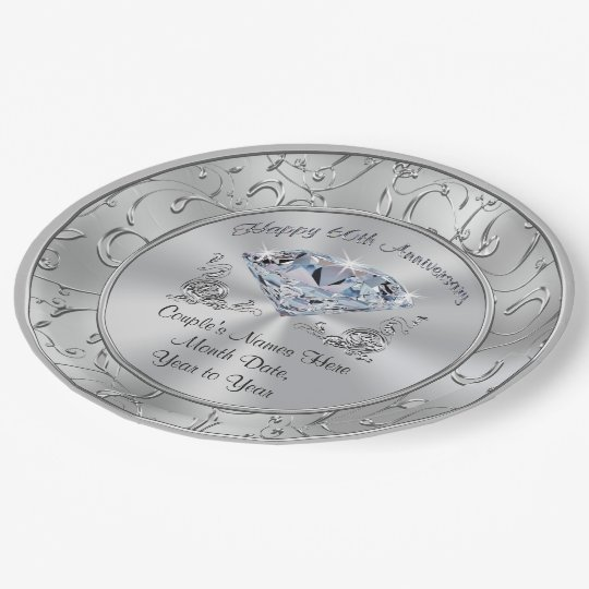 Personalized Diamond 60th Anniversary Paper Plates 9 Inch Paper Plate