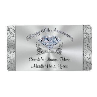 Personalized Diamond 60th Anniversary Party Labels