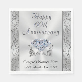 Personalized Diamond Anniversary Napkins, Stunning Disposable Napkin