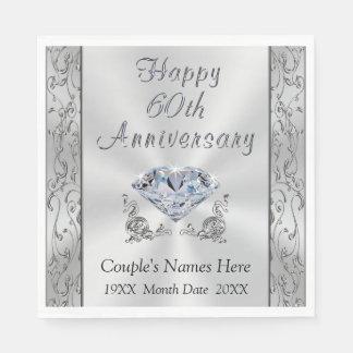 Personalized Diamond Anniversary Napkins, Stunning Disposable Napkin