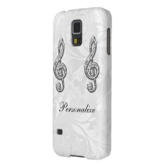 Personalized Diamond Music Note Floral Damask Galaxy S5 Cases