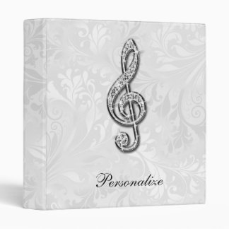 Personalized Diamond Music Note Floral Damask Vinyl Binder